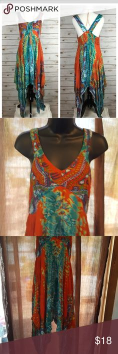 """Tye~Dye Tye~Dye Gauze Dress. Unique & Fun bohemian Dress.  Pull over style with deep V~neckline. Back features smocking fit for comfort. Length measure shoulder to bottom tip 52"""" Bust measures up too 36 World Market Dresses Midi"""