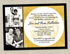 50th anniversary invitation - Golden gold anniversary wedding party invite (Printable Digital File). $16.00, via Etsy.