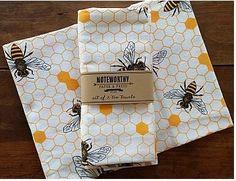 Honey Bee Tea Towels, Kitchen Towels, Set of 2 Mein Café, I Love Bees, Kegel, Bee Art, Bee Theme, Bee Happy, Save The Bees, Bees Knees, Tea Towels