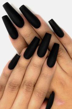 Nails prom coffin matte black ideas for 2019 - Coffin Nails Acrylic Nails Coffin Matte, Black Coffin Nails, Matte Black Nails, Long Black Nails, Short Nails, Black Prom, Gorgeous Nails, Pretty Nails, Black Nail Designs