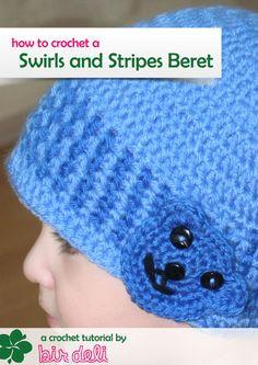 Crochet Pattern Swirls and Stripes Beret (Sizes Newborn to Adult Men)