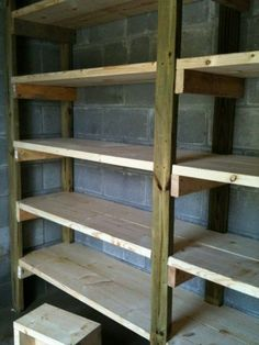 Creative DIY Basement Ideas For Transforming The Place When On A Budget – Basement Ideas 101 Basement Storage Shelves, Diy Garage Storage, Garage Shelving, Garage Shelf, Wooden Storage Shelves, Storage Ideas, Garage Organisation, Root Cellar, Diy Woodworking