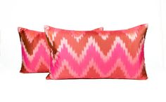 Chevron Ikat Pillow  Antique Silk Vivid Pink by MaterialRecovery, $106.00