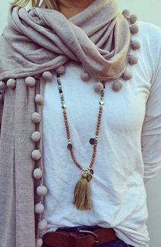 See more Amazing Woolen Scarf With White Blouse