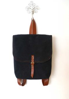 Back Waxed Canvas  Mini Backpack / School / Travel / by ottobags