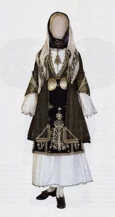 Festive traditional Greek costume from Almyro village, Magnesia region, Thessaly, Greece Gypsy Costume, Folk Costume, Ancient Greek Costumes, Greek Traditional Dress, Traditional Outfits, Greek Dancing, Greek Dress, Empire Ottoman, Greek Clothing