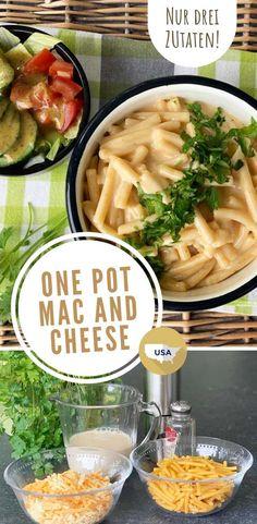 Alles aus einem Topf und nur drei Zutaten? Ja, das funktioniert auch bei Mac and Cheese, den berühmten amerikanischen Nudeln in Käsesauce. #usakulinarisch #pasta #rezept #usarezepte #käse #onepot Pot Pasta, Pasta Salad, Easy Mac And Cheese, Fast Food, One Pot, Foodblogger, Ethnic Recipes, Travel, Al Dente