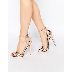 Lost Ink Raula Rose Gold Two Part Heeled Sandals (2,080 INR) ❤ liked on Polyvore featuring shoes, sandals, copper, metallic heel sandals, rose gold metallic shoes, rose gold heeled sandals, cutout sandals and high heel stilettos