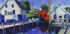 """""""Scarlet Reflection"""" by Philip Frey. 12"""" X 24"""", Oil. *SOLD* www.maine-art.com"""