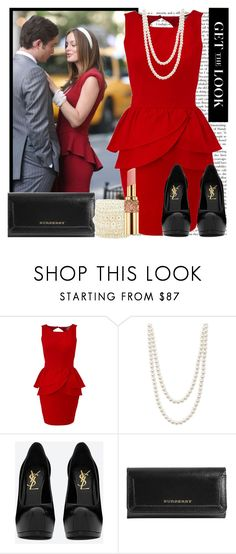 """GET THE LOOK - Blair Waldorf"" by karineminzonwilson ❤ liked on Polyvore featuring Lipsy, Majorica, Yves Saint Laurent, Burberry and Charlotte Russe"