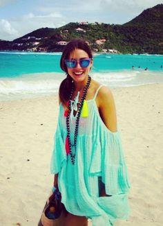 beach babe Olivia Palermo working beach brights.