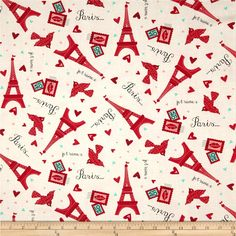 Moda Kiss Kiss Paris Love Cloud from @fabricdotcom  Designed by Abi Hall for Moda, this cotton print is perfect for quilting, apparel and home decor accents. Colors include red, pink, aqua, black, and white.