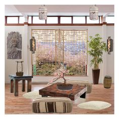 """""""zen decor"""" by rpsounos ❤ liked on Polyvore featuring interior, interiors, interior design, home, home decor, interior decorating, Jayson Home, Benzara, A19 and Fountain"""