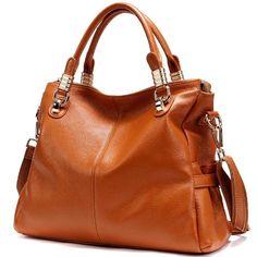 JiYe Womens 2P0951 1st Genuine Leather Leisure Shoulder Bag Brown