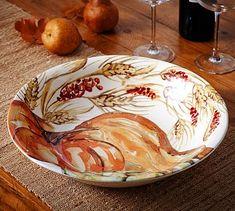 Watercolor Painted Pumpkin Serve Bowl #potterybarn