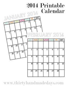 2014 Printable Calendar to go with organizational binders from www.thirtyhandmadedays.com