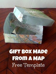gift box from a map free template, #thriftygiftideas, #thriftygiftwrap, #fathersday, #mangifts, #easywrapping, #diy, #thriftycrafts, #thriftycraftideas