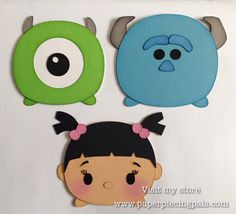 Monsters Inc. Tsum Tsum from my Etsy shop https://www.etsy.com/listing/266000252/premade-monsters-inc-tsum-tsum-piecing #paperpiecingpals #disney