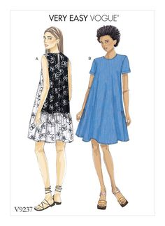 Very Easy Vogue Patterns V9237 MISSES' A-LINE, BACK-RUFFLE DRESSES. Easy to sew.