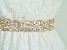 1.5 Gold Bridal Crystal Sash Gold Rhinestone belt by LiveAdorned