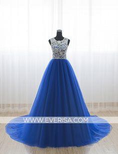 Unique royal blue A-Line/princess Scoop Neck Floor Length Tulle prom dresses with lace Sleeveless  -  $125.00 Form https://www.everisa.com/unique-royal-blue-a-line-princess-scoop-neck-floor-length-tulle-prom-dresses-with-lace-sleeveless