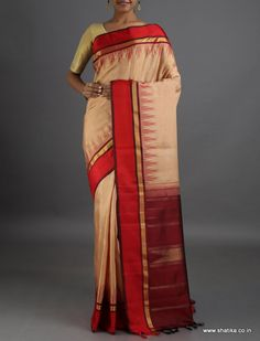 Radha Temple Bordered #LinenSilkSaree