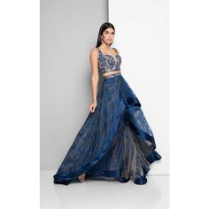 Terani 1711P2712 Prom CutOut Dress Long V-Neck Sleeveless ($363) ❤ liked on Polyvore featuring dresses, gowns, formal dresses, prom gowns, lace formal gown, long prom gowns, long evening gowns and blue lace dress