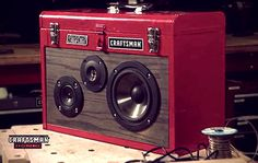 "Your toolbox can be more than just a storage container for all your Craftsman tools. Introducing the ""Gentleman's Boombox."" Learn how to make a boombox from . Diy Electronics, Electronics Projects, Diy Boombox, Home Projects, Projects To Try, Welding Projects, Ammo Cans, Diy Speakers, Portable Speakers"