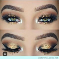 10 Glitter eye make up ideas with gold and bronze shimmer