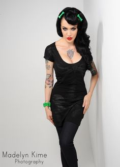 Black Skeleton Tunic Dress - Many companies have tried their hand at spooky pychobilly clothing and accessories, but none do it as well as the originals from Scotland - Kreepsville 666!  Layer and accessorize this skeleton tunic over jeans, leggings, or tights for the coolest in zombie chic.
