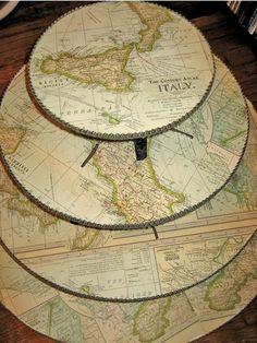 DIY Map Cupcake Stand. I love maps.
