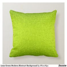 Lime Green Modern Abstract Background Throw Pillow - Make your space special. Lime Green Cushions, Green Pillows, Couch Pillows, Throw Pillows, Accent Pillows, Green Theme, Decorative Cushions, Custom Pillows, Abstract Pattern