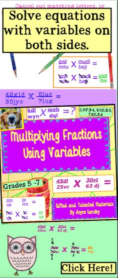 Teach students how to cross multiply fractions to solve equations with variables on both sides with this challenging power point from Catch My Products! 5th Grade Classroom, 5th Grade Math, Sixth Grade, Fourth Grade, Classroom Ideas, Math Lesson Plans, Math Lessons, Math Activities, Teaching Resources