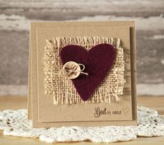 card with heart felt burlap paper and fabric Sneak Peek Card by Laurie Schmidlin using Each Day from Verve Stamps. Fabric Cards, Paper Cards, Diy Cards, Valentine Love Cards, Valentine Crafts, Burlap Card, Tarjetas Diy, Button Cards, Heart Cards