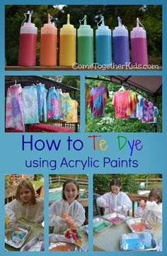 How to Tie Dye using Acrylic Paints (need squeeze bottles, hangers, dry line, latex gloves)