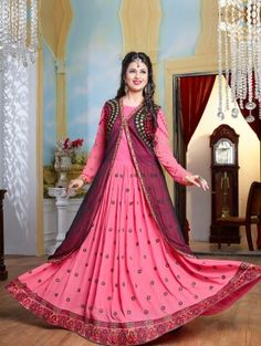 Pink and Black Georgette Anarkali Suit with Embroidery Work