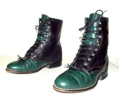 Lace Up Green and Black Cowboy Boots  Laredo by honeyblossomstudio, $58.99