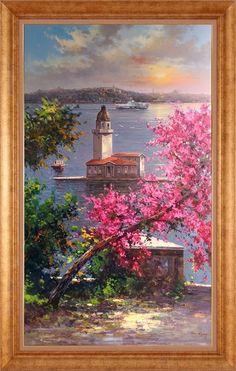 Watercolor Landscape, Landscape Paintings, Watercolor Art, Acrilic Paintings, Turkish Art, Beginner Painting, Painting Videos, Cool Landscapes, Pictures To Paint