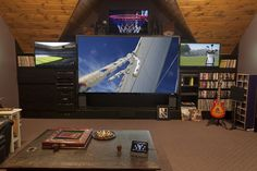 Four-screen sports-viewing setup in media room | Simply Integrated | CEDIA Smart Home System Design Ideas