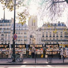 Les Bouquinistes along the Seine River, selling vintage books and posters | Paris, France