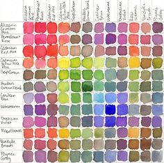 I first saw this in my watercolor class in Denmark... a great way to see how all the colors in your set mix