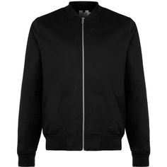 TOPMAN Black Cotton Bomber Jacket ($52) ❤ liked on Polyvore featuring men's fashion, men's clothing, men's outerwear, men's jackets, jackets, black, bomber, coats & jackets, men and mens blouson jacket