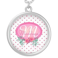 Pink Frame Monogram Rose Custom Necklace - This necklace has lots of pink roses all over. It has a pink monogram frame with roses and green foliage in which to place your name and initial. This would make a nice, personal Christmas or birthday gift for your wife, daughter or mother.