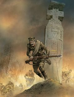 Serbian soldier in WWI illustration