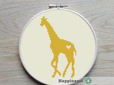 cross stitch pattern giraffe, giraffe silhouette, modern cross stitch, PDF,  ** instant download**