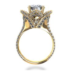 flower engagement rings | ... Blossoming Flower 2-1/4 ctw Diamond Ring in 14k Yellow Gold