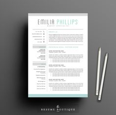 Resume Template 3page | Aqua by The.Resume.Boutique on @creativemarket