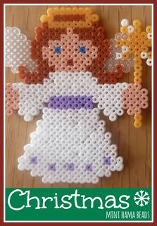 Mini Hama bead Christmas designs - a lovely angel and Father Christmas made from mini Hama beads, making perfect Christmas decorations Beaded Christmas Ornaments, Christmas Minis, Christmas Crafts, Father Christmas, Christmas Decorations, Hama Beads Design, Hama Beads Patterns, Beading Patterns, Mini Hama Beads
