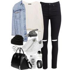 white sweater, denim jacket, black skinny jeans, white sneakers, beanie