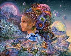 Luna Landra, Josephine Wall    Luna Landra may be the exotic ruler of this distant planet, or it may be the name of this fantastic world, but one thing is for sure, and that is that the Goddess presides over one of the most amazing worlds in the solar system. This is a world of beauty and mystery, where a fairy may stop to inspect the Goddesses curious earring, which contains yet another galaxy, or the many weird and wonderful creatures that fly past.